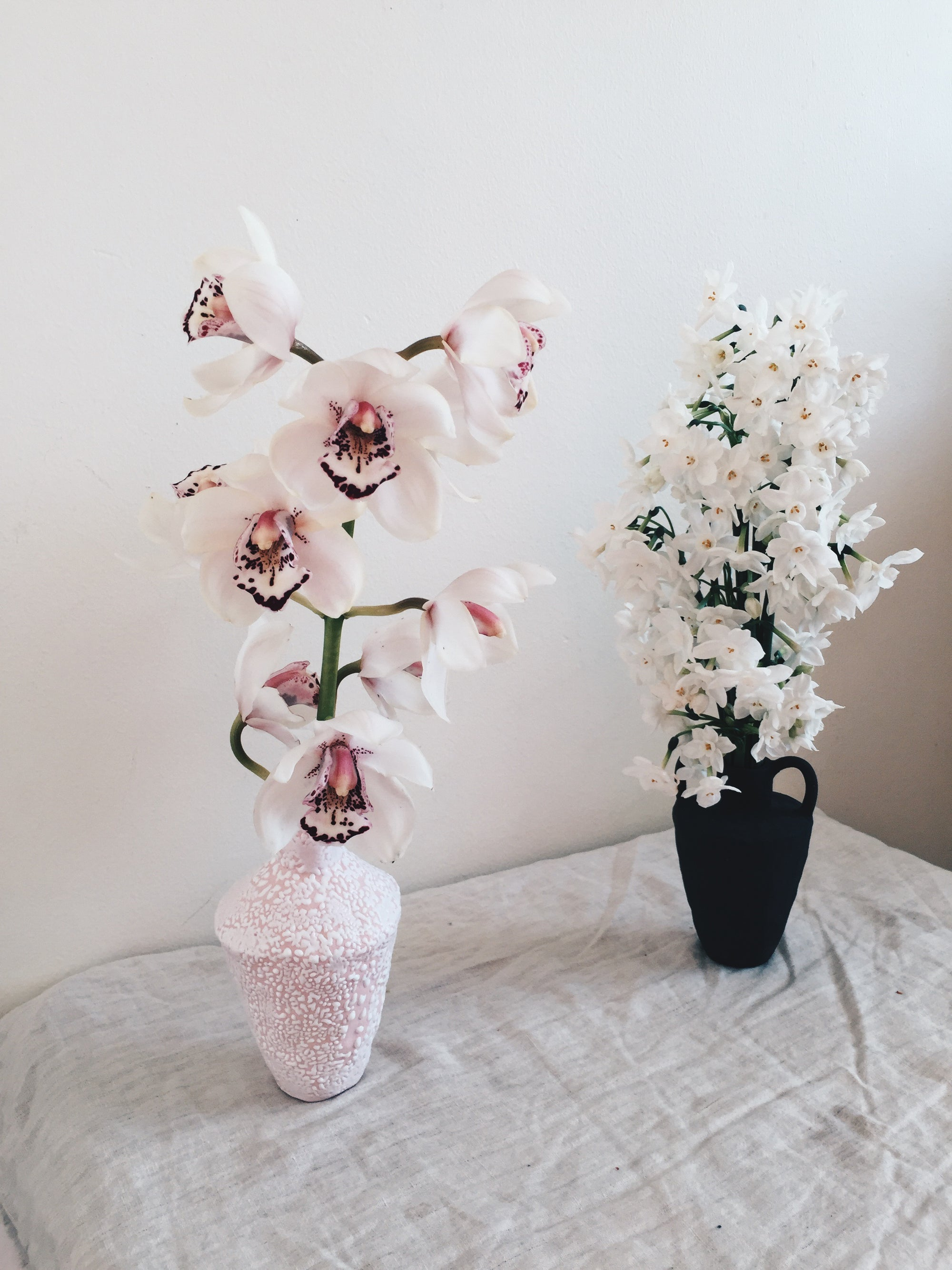 Image of pink + white vase