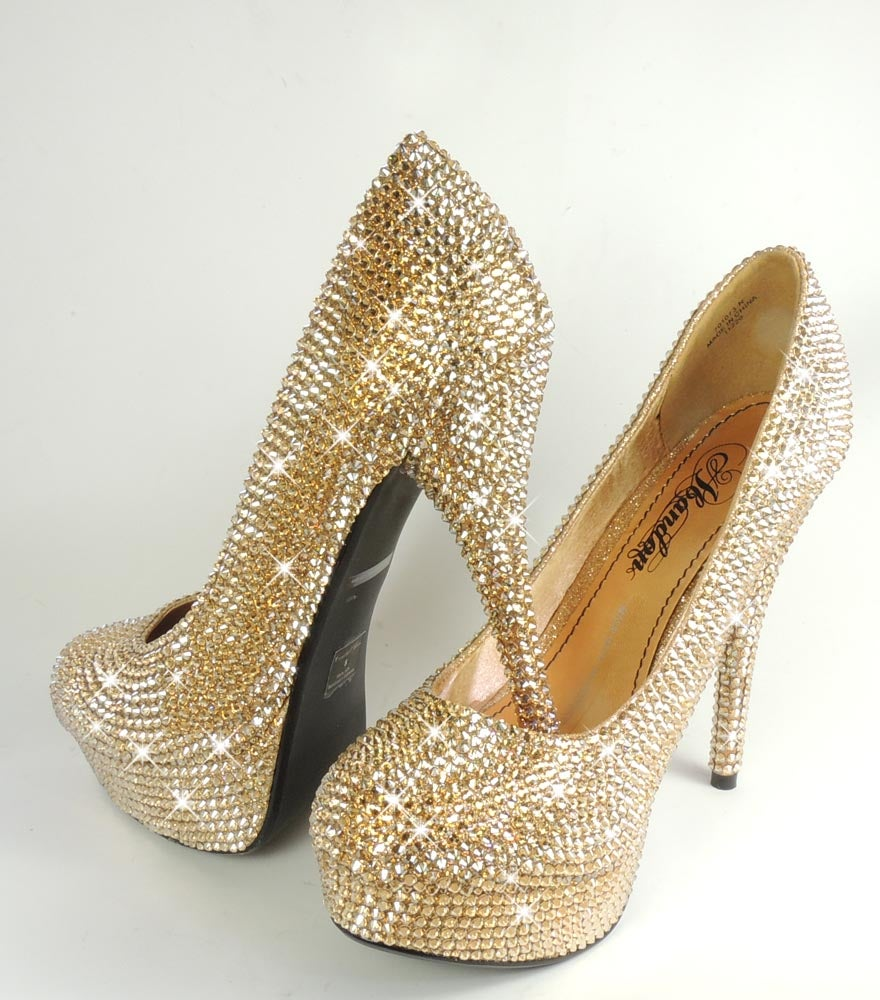 Image of CLEARANCE; Gold Crystal Platform Heel Shoes. Size 5.