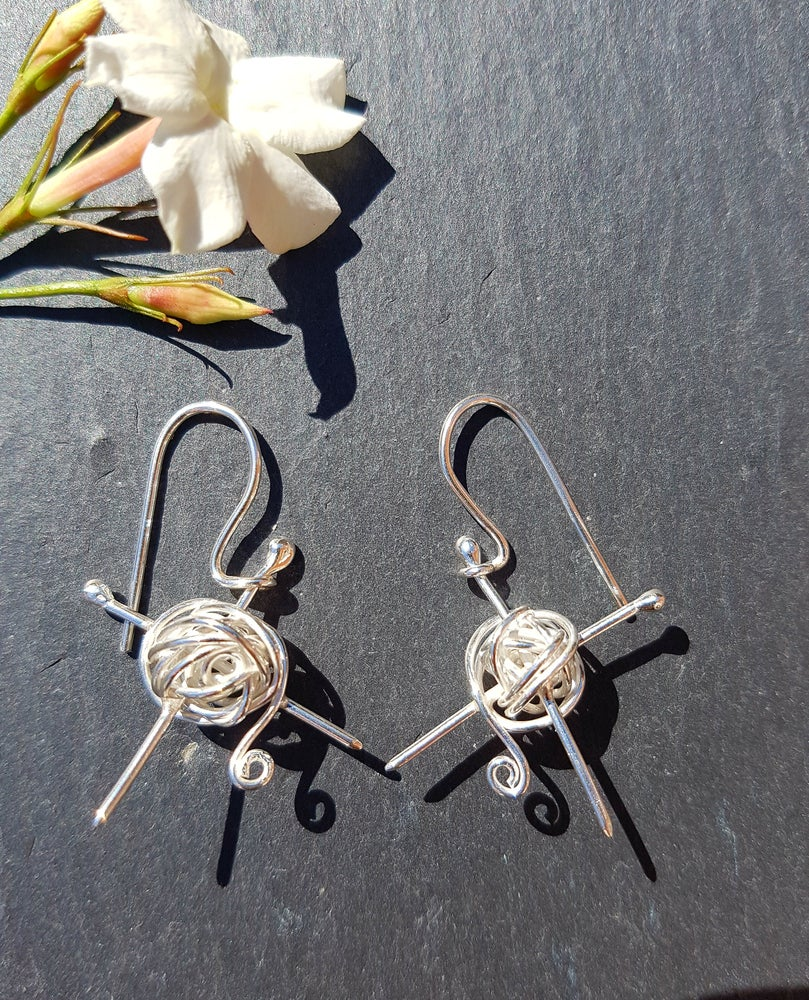 Image of Knitting Silver Drop Earrings