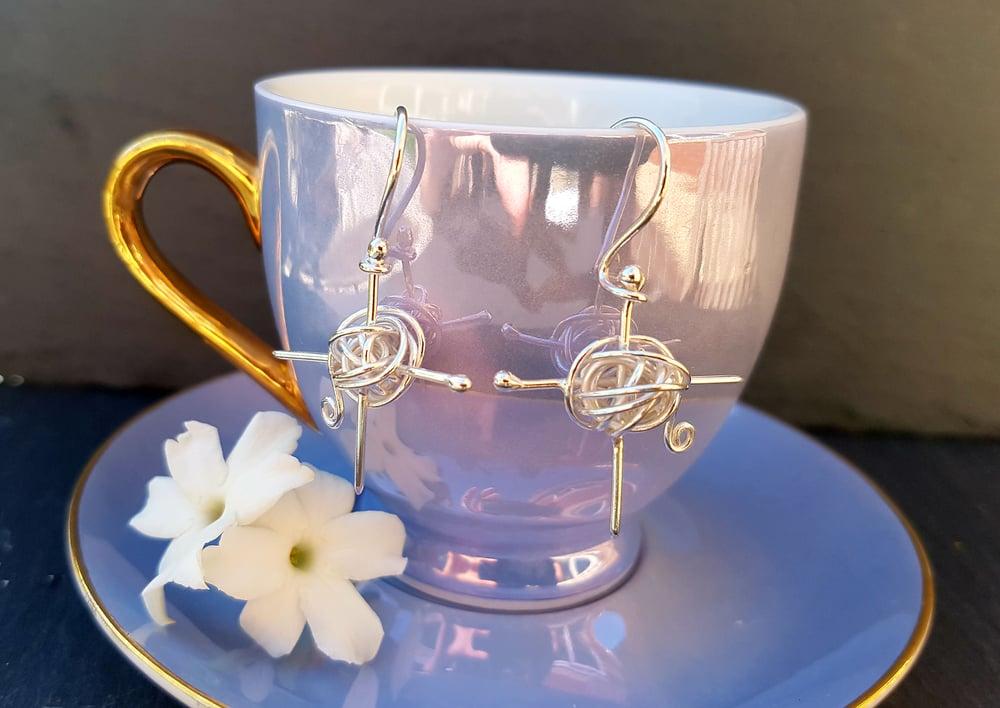 Image of Knitting Silver Drop Earrings