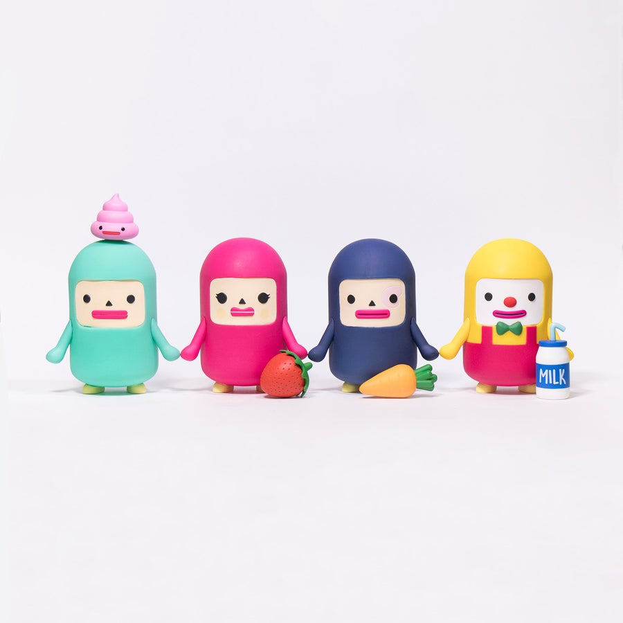 Image of CAPSUBEANS COMPLETE SET OF FOUR FIGURES & BONUS POOP!