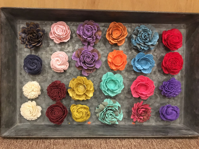 Image of Wood flower magnets