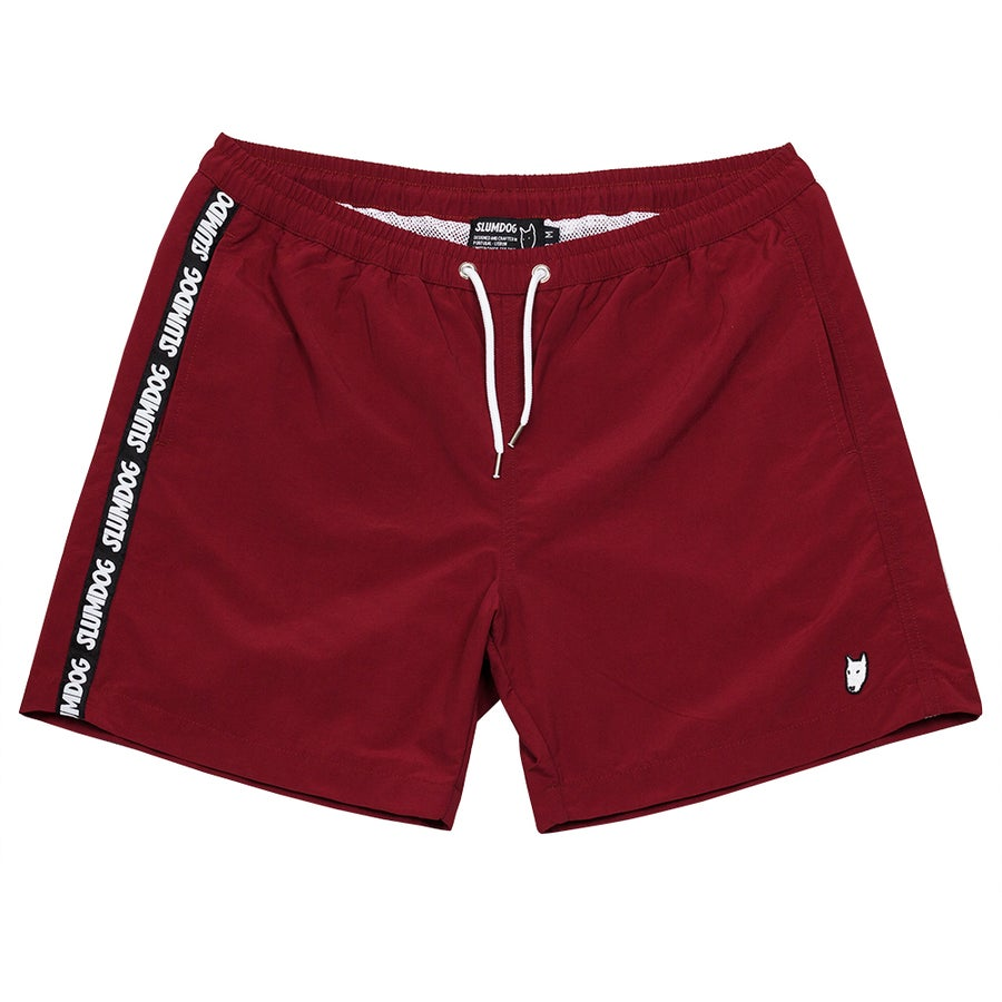 Image of SWIM TRUNKS <BR> BURGUNDY