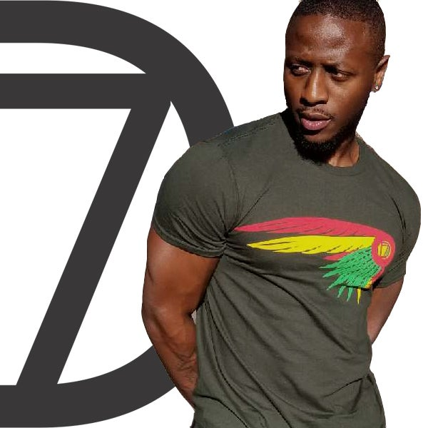 "Image of army green divinity feather ""tribe"" tee"