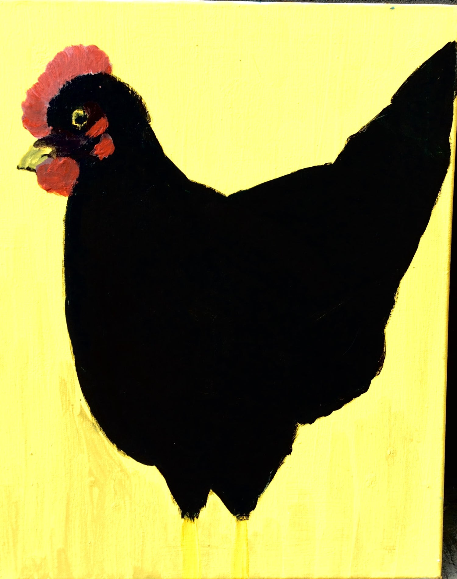 "Image of Original painting Acrylic on canvas by Marina Koujman ""Chicken""."