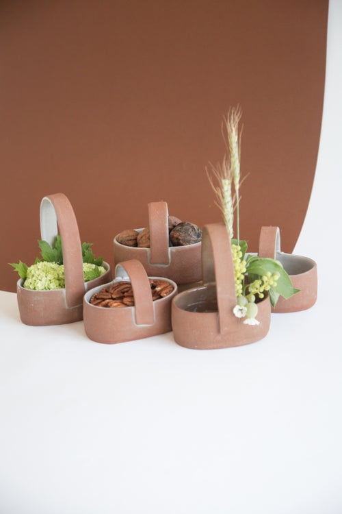 Image of Red Clay Oval Ceramic Baskets