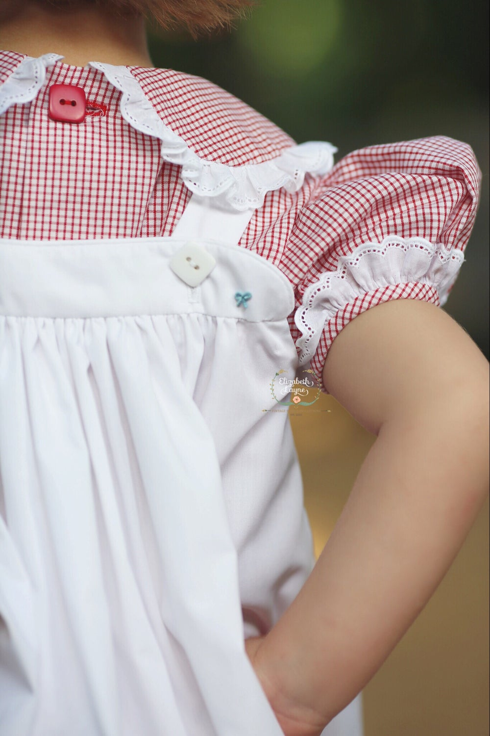 Image of Hand Smocked Apple Pinafore Set