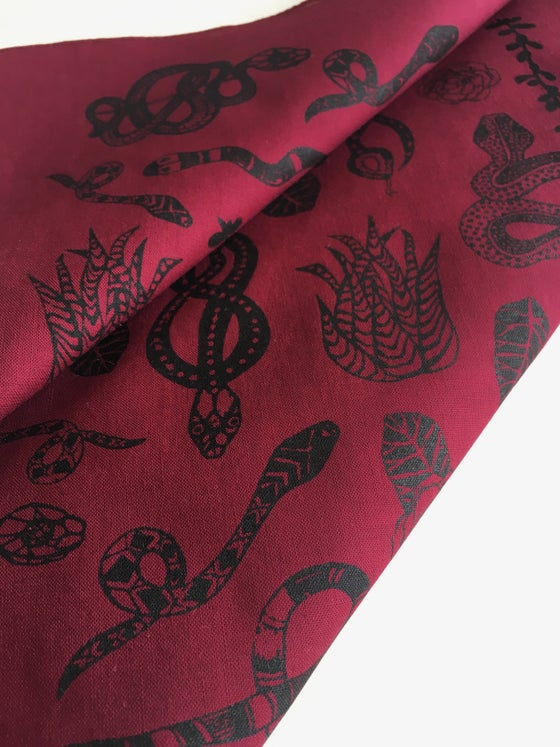 Image of Snake Print Bandana in Burgundy and Black