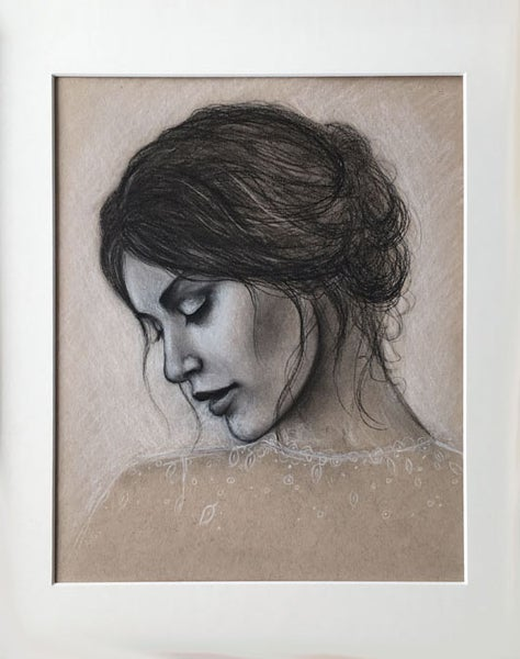 Image of Woman with Bun II study - Matted Drawing