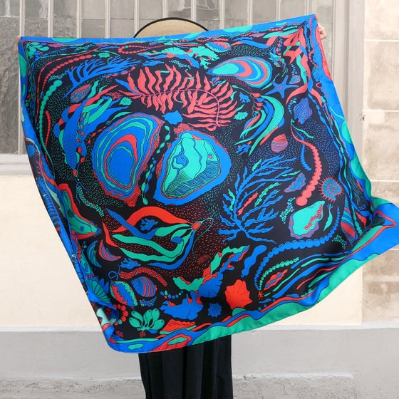 Image of The World is your Oyster Silk Scarf La Nuit