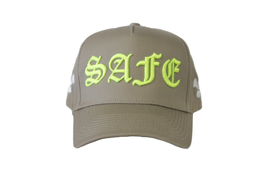 "Image of Tan & Lime Green ""IT AINT SAFE"" TFGB Trucker Hat"