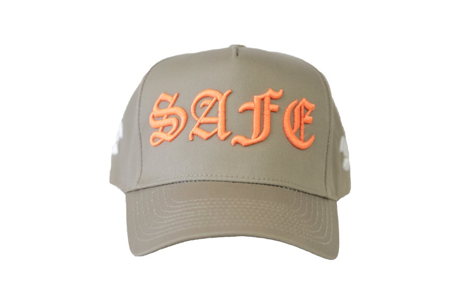 "Image of Tan & Orange ""IT AINT SAFE"" TFGB Trucker Hat"
