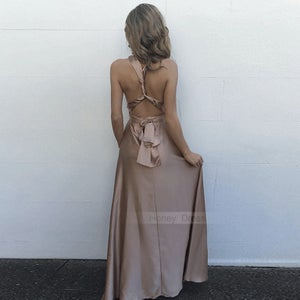 Image of Sexy Champagne V-Neck Silk Satin Sleeveless Maxi Dress With Criss-Cross Straps