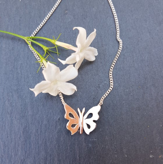 Image of Silver and Copper Butterfly Necklace