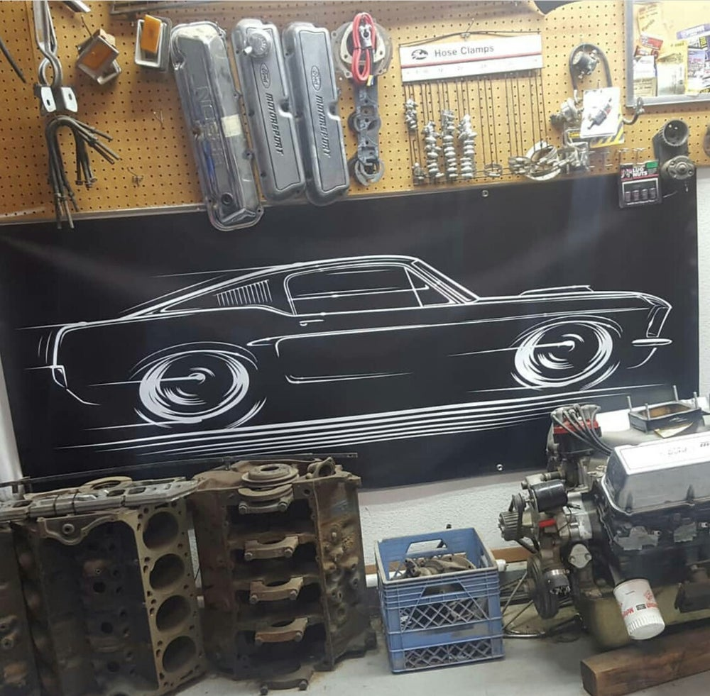 Image of '67-'68 Fastback Mustang T-Shirts Hoodies Banners