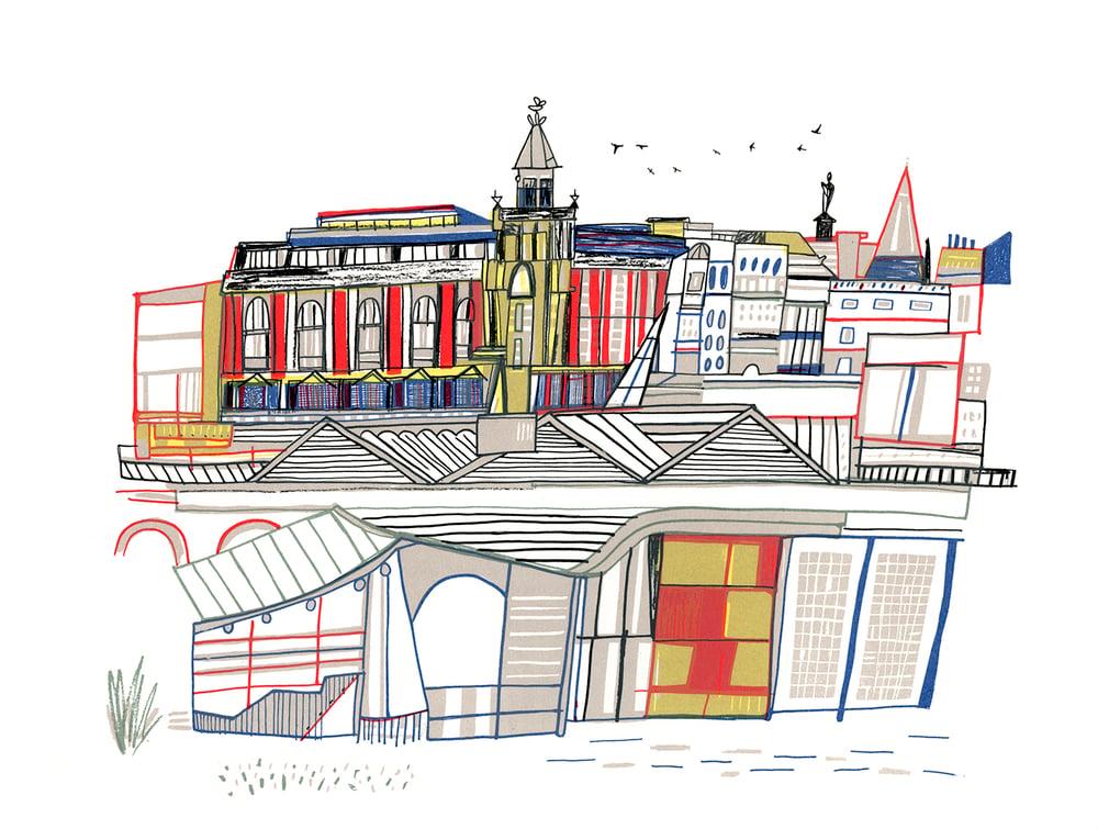 Image of Waverley Buildings screen print
