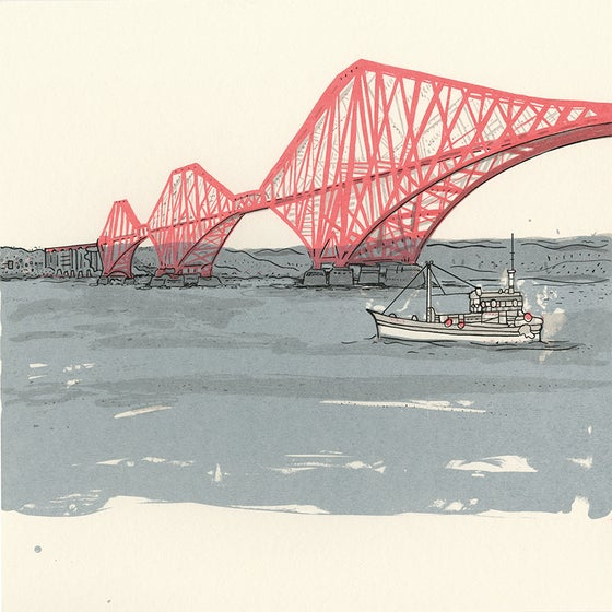 Image of Forth rail bridge with boat screen print