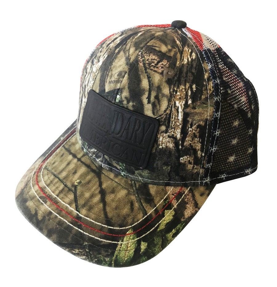 Image of Legendary American Mossy Oak Flag Trucker