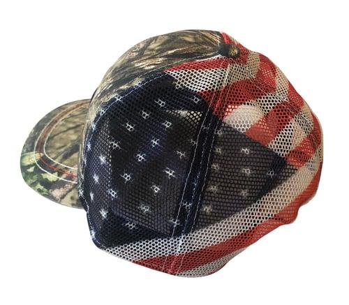Image of Legendary American Mossy Oak Flag Trucker