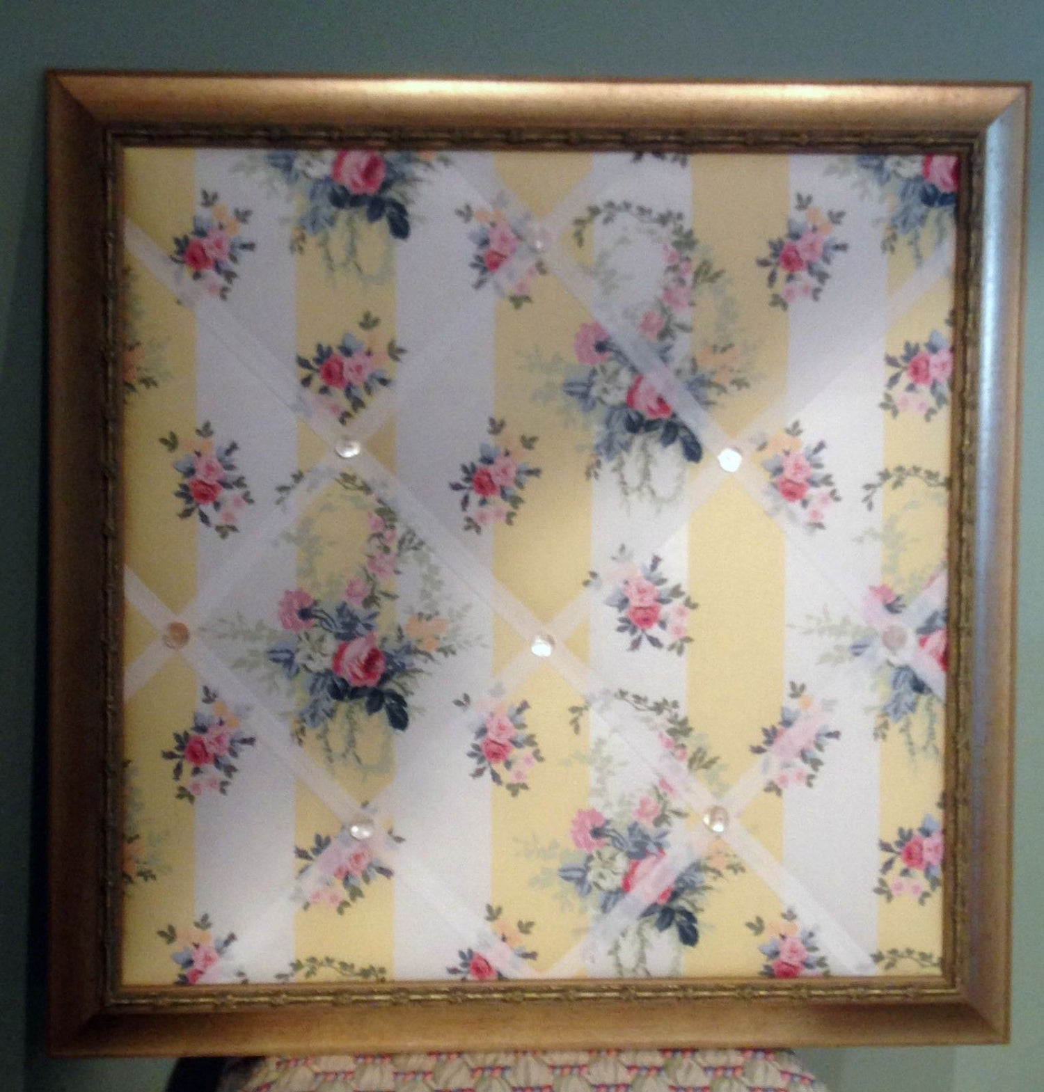Image of Vintage Laura Ashley floral chintz fabric Framed Memo Board