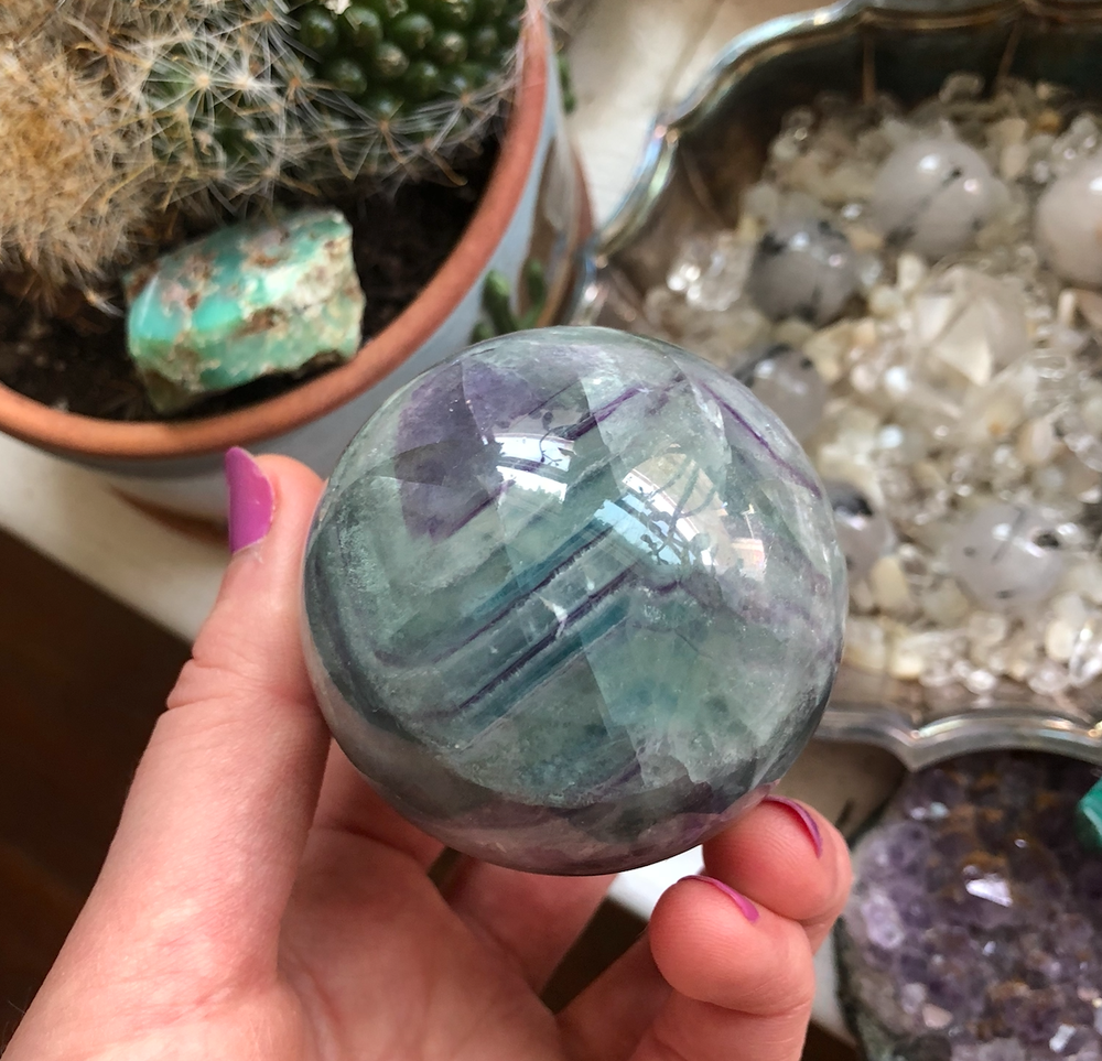 Image of 62mm Rainbow Fluorite Crystal Sphere (w/ a stand)