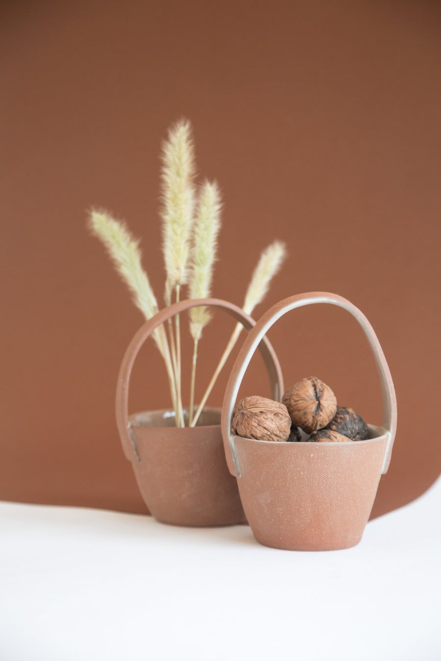 Image of Small Round Red Clay Baskets