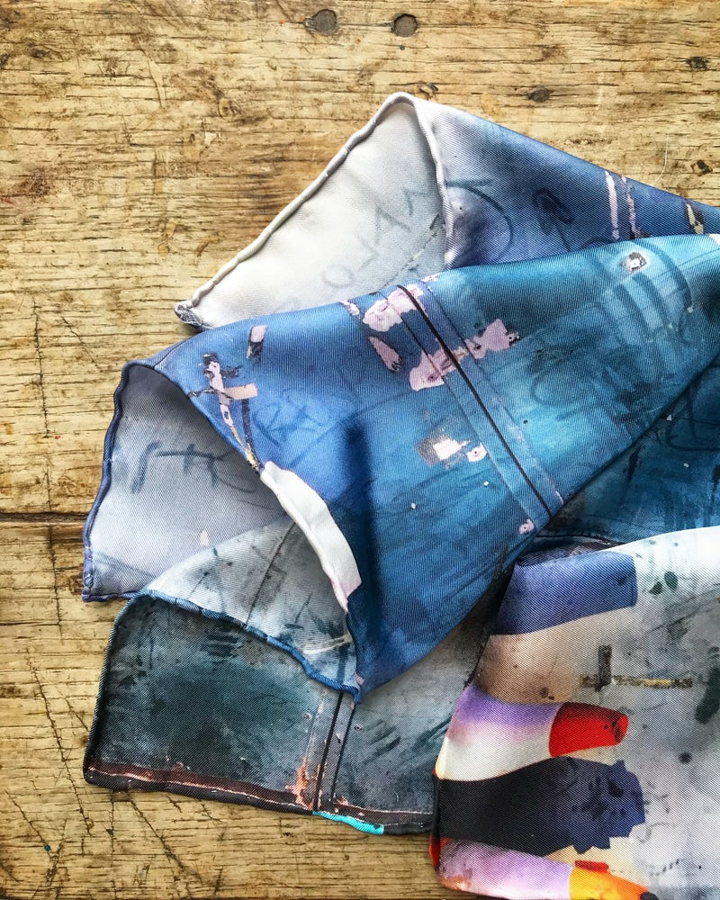 Image of Dusty Bus Depot - Small Silk Scarf with Hand Rolled Edges