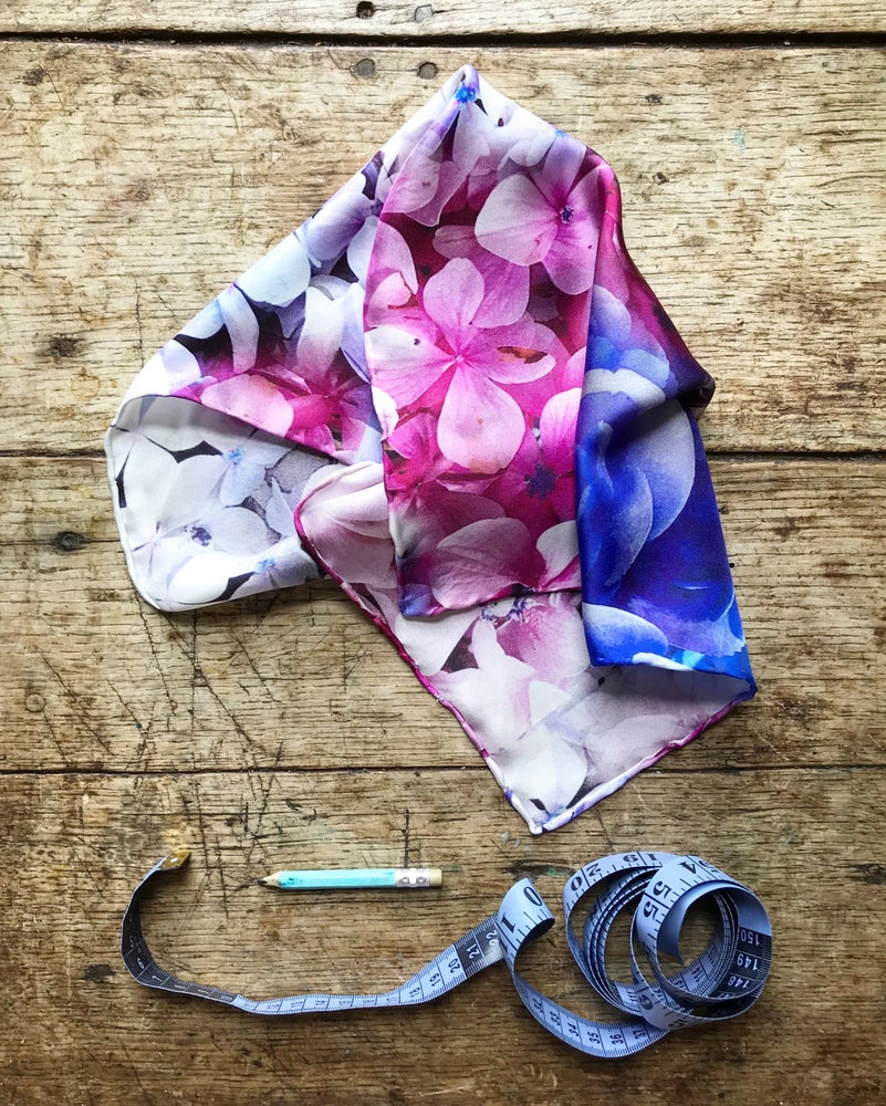 Image of HYDRANGEAS - 100% SATIN SILK SCARF OR POCKET SQUARE WITH HAND ROLLED EDGES