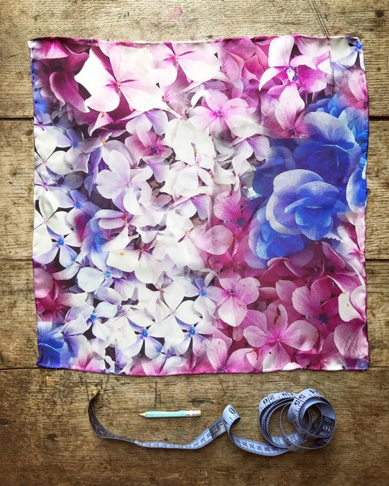 Image of Hydrangeas - Small Silk Scarf with Hand Rolled Edges