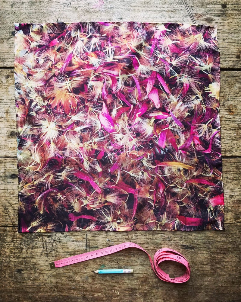 Image of Gerbera Seeds - Small Silk Scarf with Hand Rolled Edges
