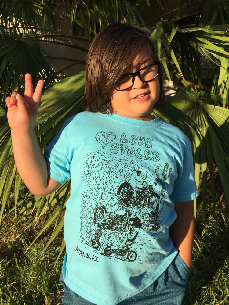 Image of KIDS SKY BLUE 'DESERT RIDING BUNNIES' TEE