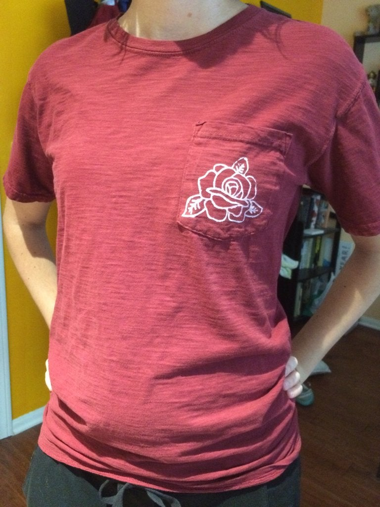 Image of Red Rose Front Pocket Tee