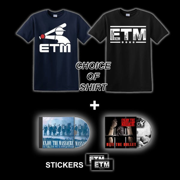 Image of CHOICE OF SHIRT + CD'S AND STICKERS DEAL