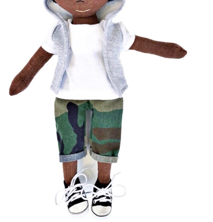 Image of 3pc Camo & sweatshirt hoody vest + shoe - Doll Accessory