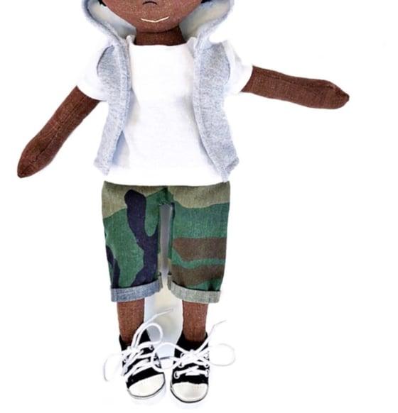 Image of 3pc Camo & sweatshirt hoody vest + shoe - Doll Accessory