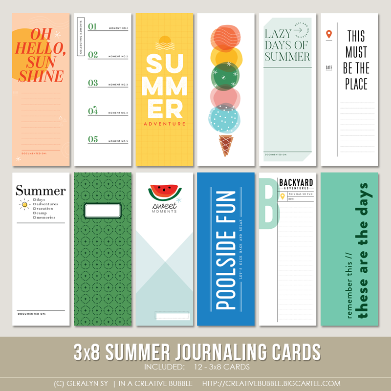 Image of 3x8 Summer Journaling Cards (Digital)
