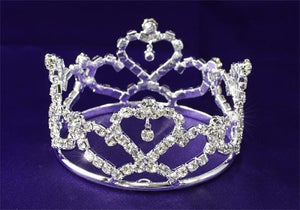 Image of IP.1735 Baby/Toddler Heart Rhinestone Full Circle Mini Crown