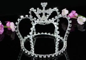 Image of IP.1539 Sparkling Crystal Full Mini Tiara Prince Crown