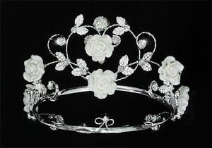 Image of IP.1771 Handmade Flower Girl / Baby Crystal White Ceramic Heart Full Circle Round Mini Crown Tiara