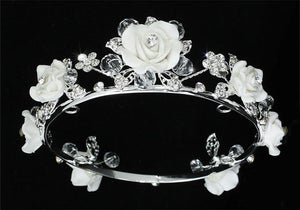 Image of IP1773 Handmade Flower Girl Baby Crystal White Ceramic Full Circle Round Mini Crown Tiara