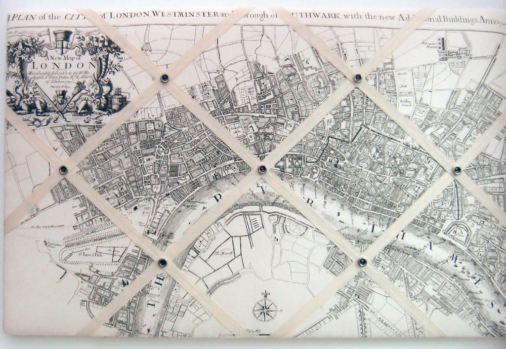 Image of Old London Map fabric Memo/Pin board
