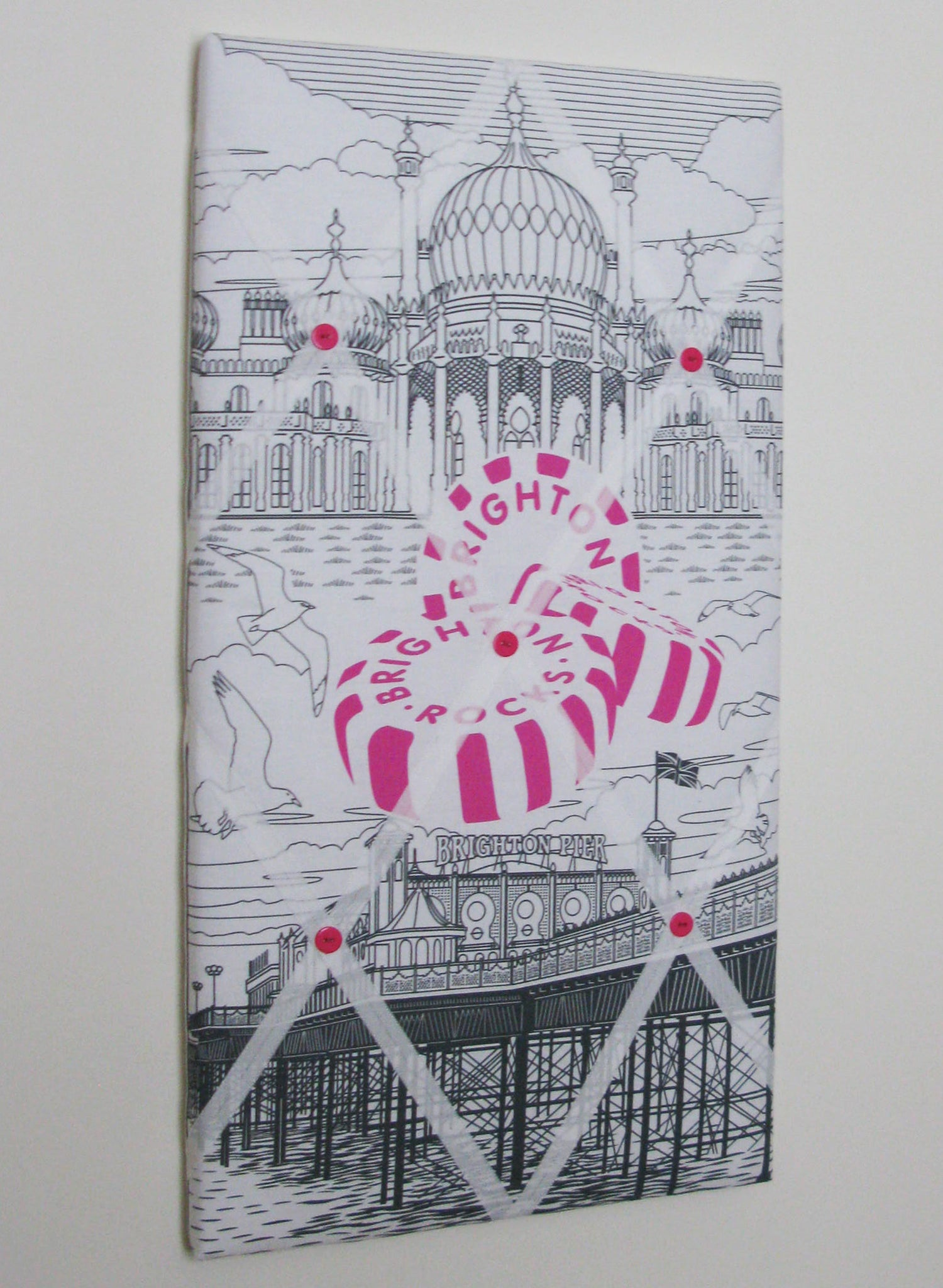 Image of 'Brighton Rocks' fabric covered Box-framed Memo/Pin Board