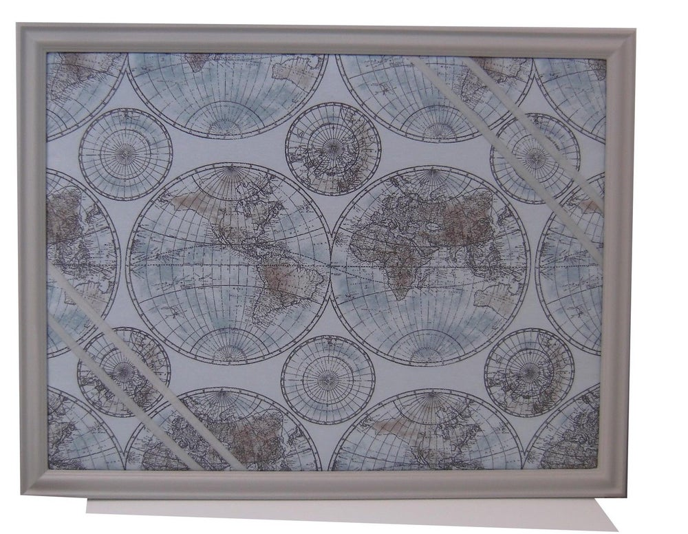 Image of Grey Framed World Globe Fabric Memo/Pin Board