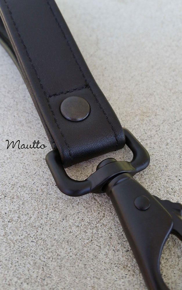 "Image of Heavy-duty Leather Wrist Strap - 1"" Wide - Choice of Leather Color and Swiveling Clip Style #6"