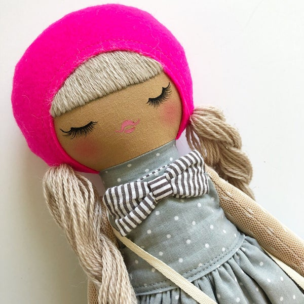 Image of Large Classic Doll Shocking Pink/Floral