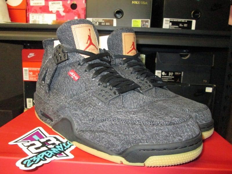 """Image of Air Jordan IV (4) Retro NRG """"Levi's - Black"""""""