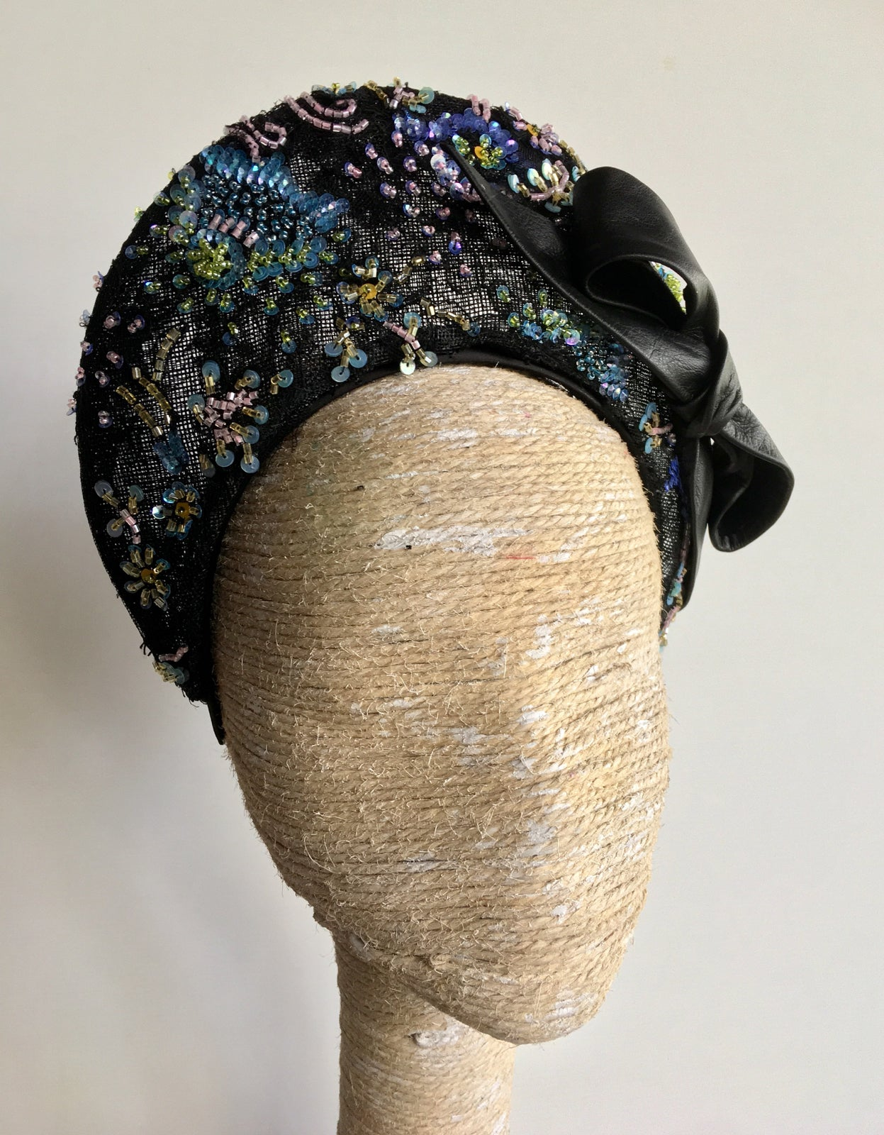 Image of Beaded halo w leather bow