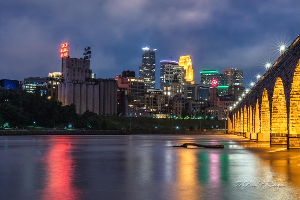 "Image of Stone Arch Bridge During the ""Blue hour"""