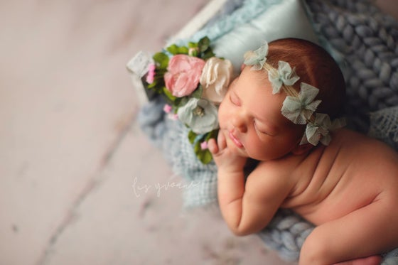 Image of Mint tulle bows headband