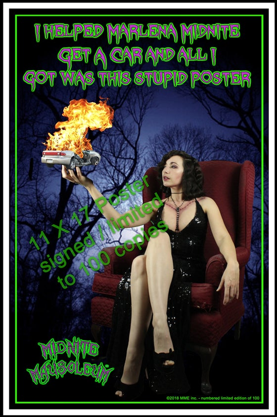 Image of Marlena Midnite - car crash mini poster (signed/limited edition of 100)